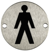 satin stainless steel male sign