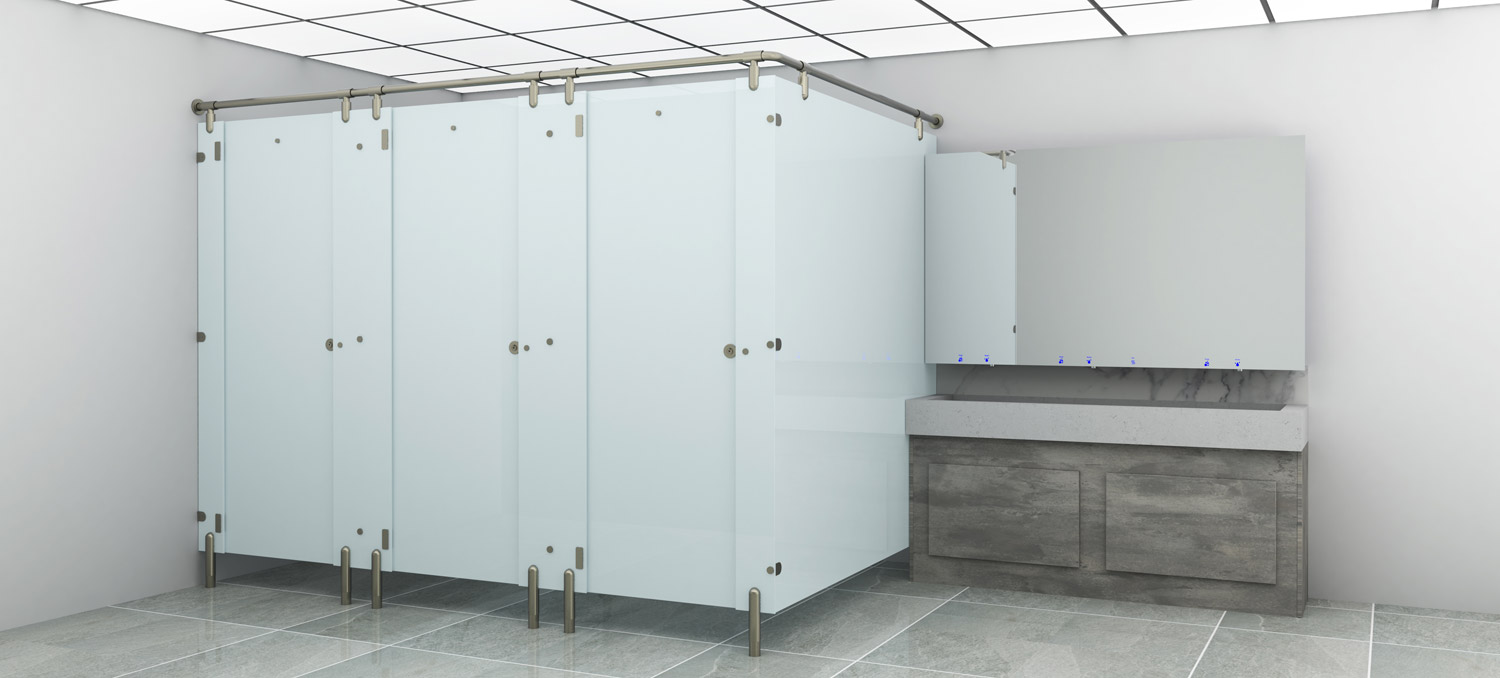 Glass Toilet Cubicles